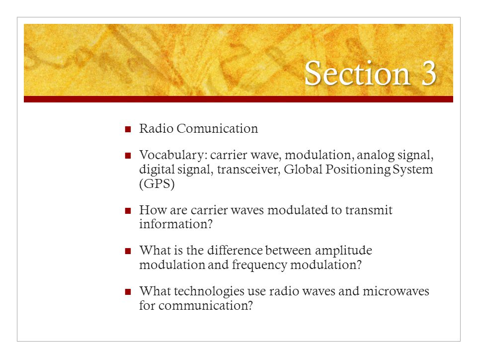 Section 3 Radio Comunication