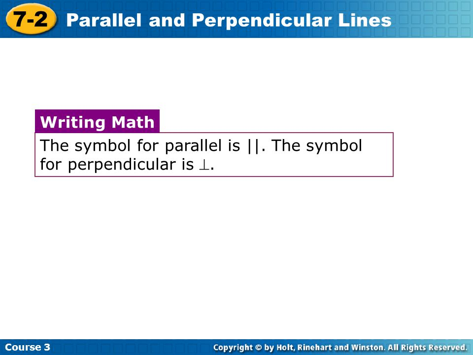 7 2 Parallel And Perpendicular Lines Warm Up Problem Of The Day