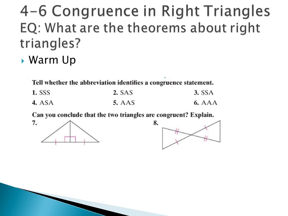 Congruent Triangles Geometry Chapter Ppt Video Online Download. 46 Congruence In Right Triangles Eq What Are The Theorems About. Worksheet. Special Right Triangles Worksheet Form K At Clickcart.co