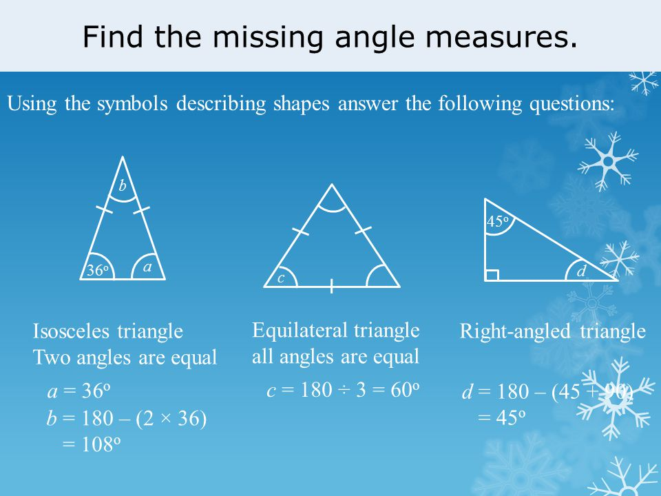 how to find the missing angle of a right triangle