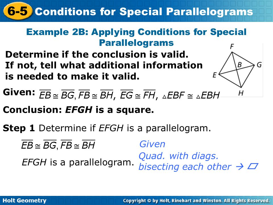 lesson 6.5 problem solving conditions for special parallelograms