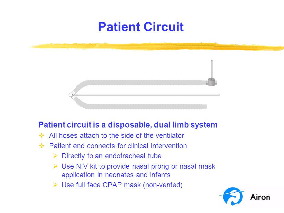 Patient Circuit Patient circuit is a disposable, dual limb system