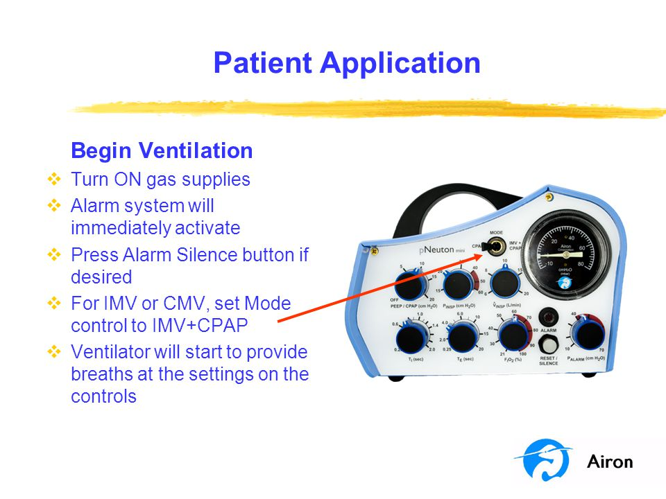 Patient Application Begin Ventilation Turn ON gas supplies
