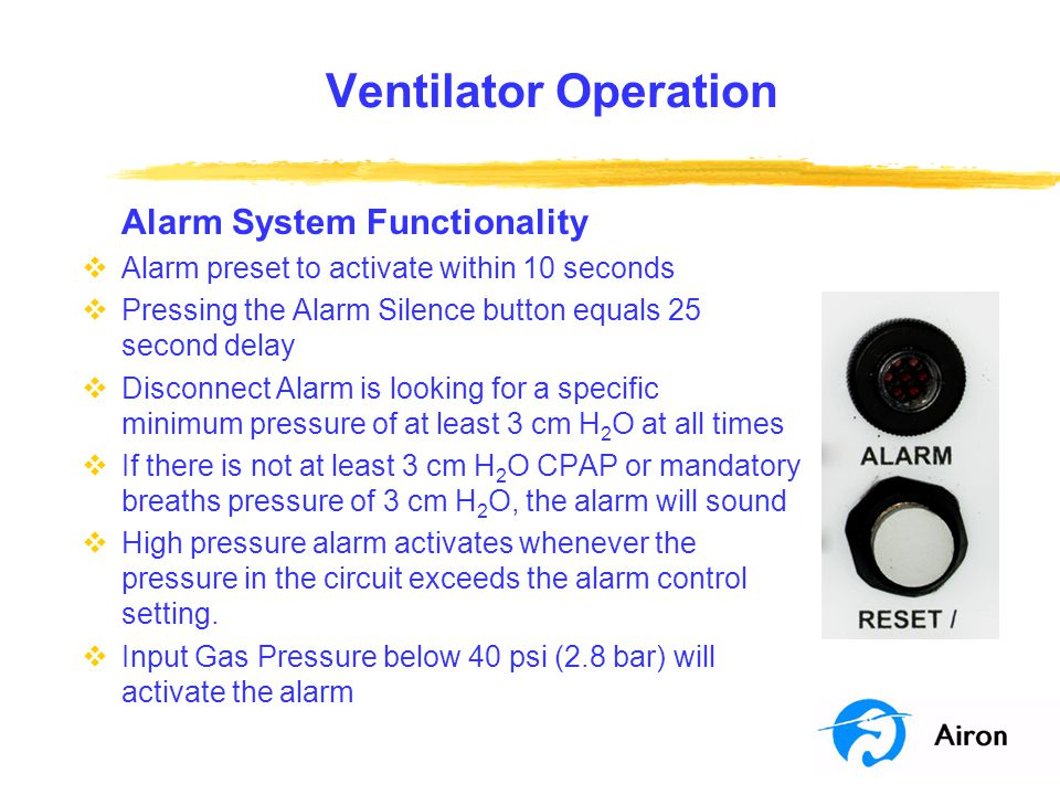 Ventilator Operation Alarm System Functionality