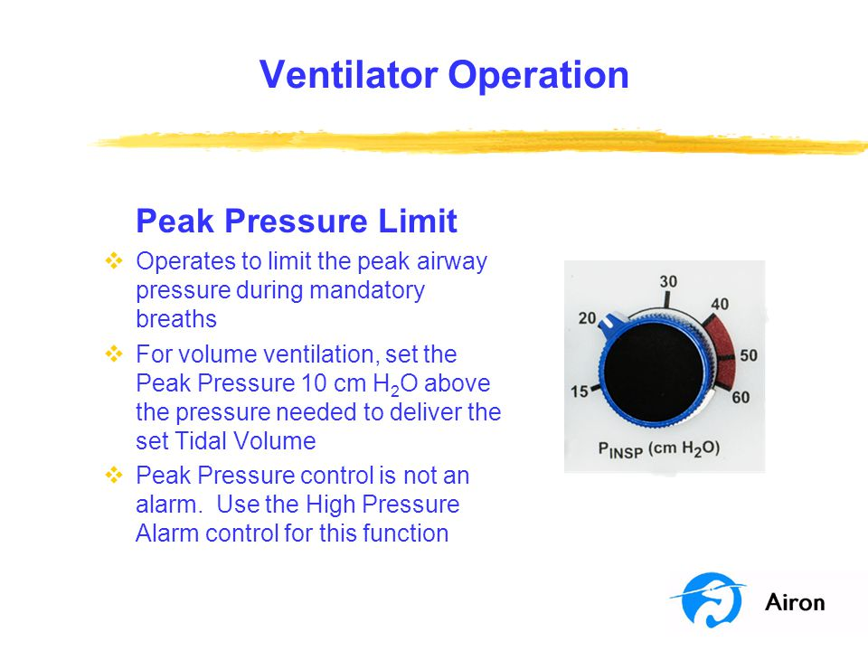 Ventilator Operation Peak Pressure Limit