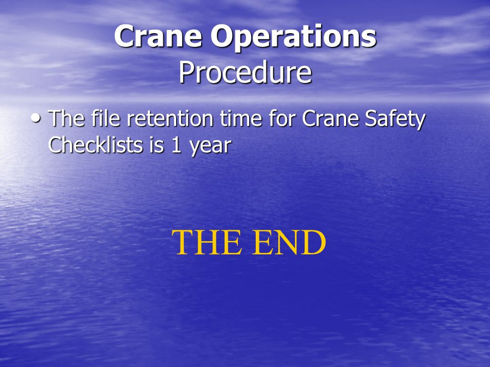 Crane Operations Procedure