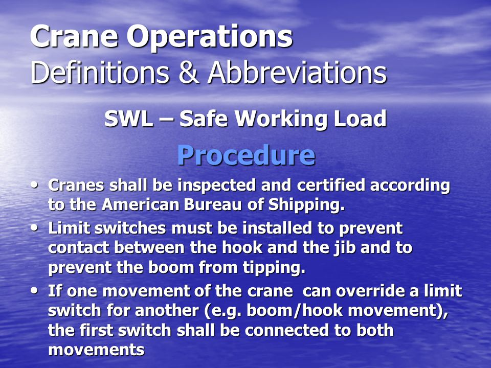 Crane Operations Definitions & Abbreviations