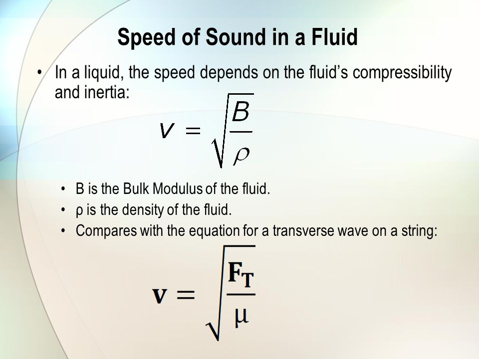 Speed of Sound in a Fluid