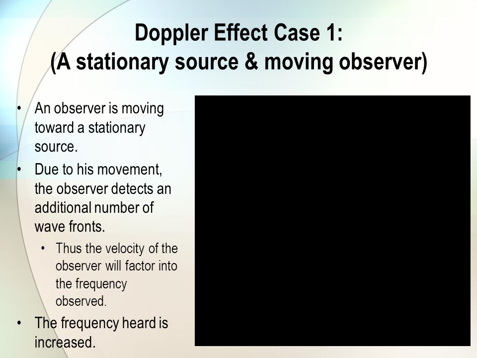 Doppler Effect Case 1: (A stationary source & moving observer)