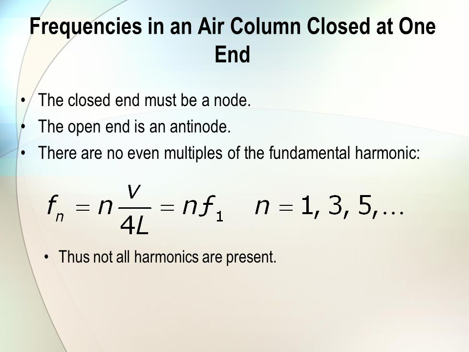 Frequencies in an Air Column Closed at One End