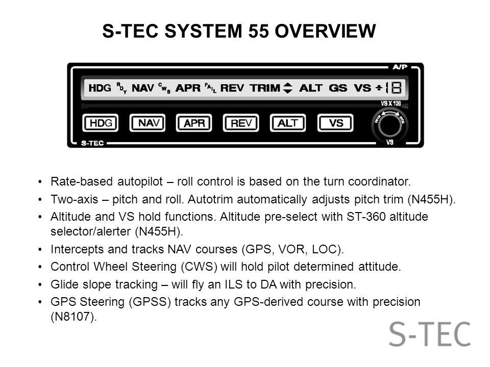 S-TEC System 55 Autopilot Training Presented By: Brad
