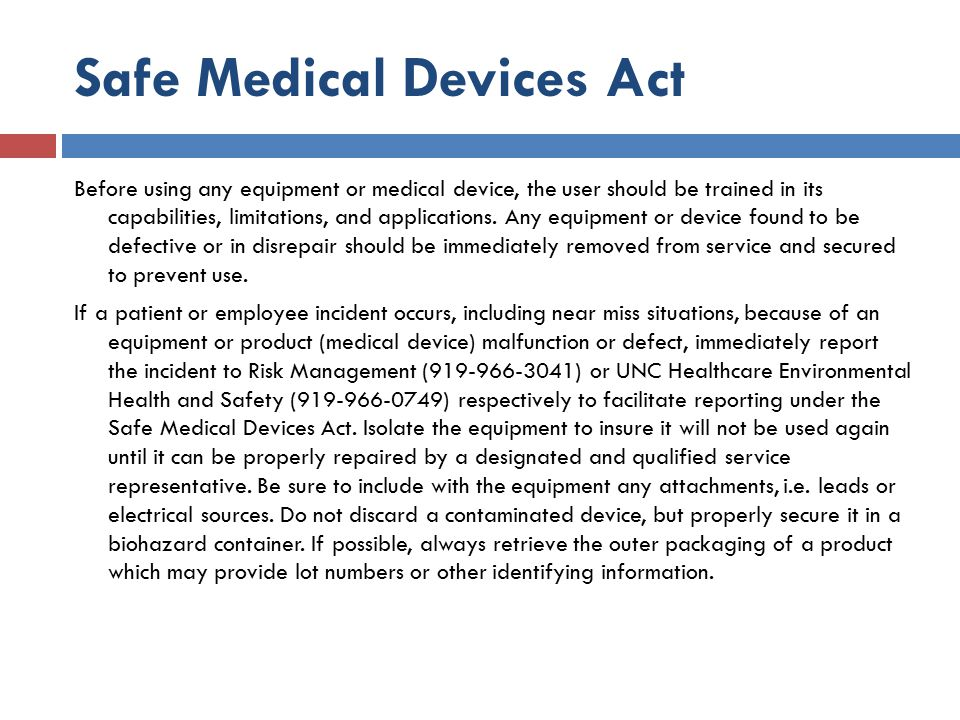 Safe Medical Devices Act