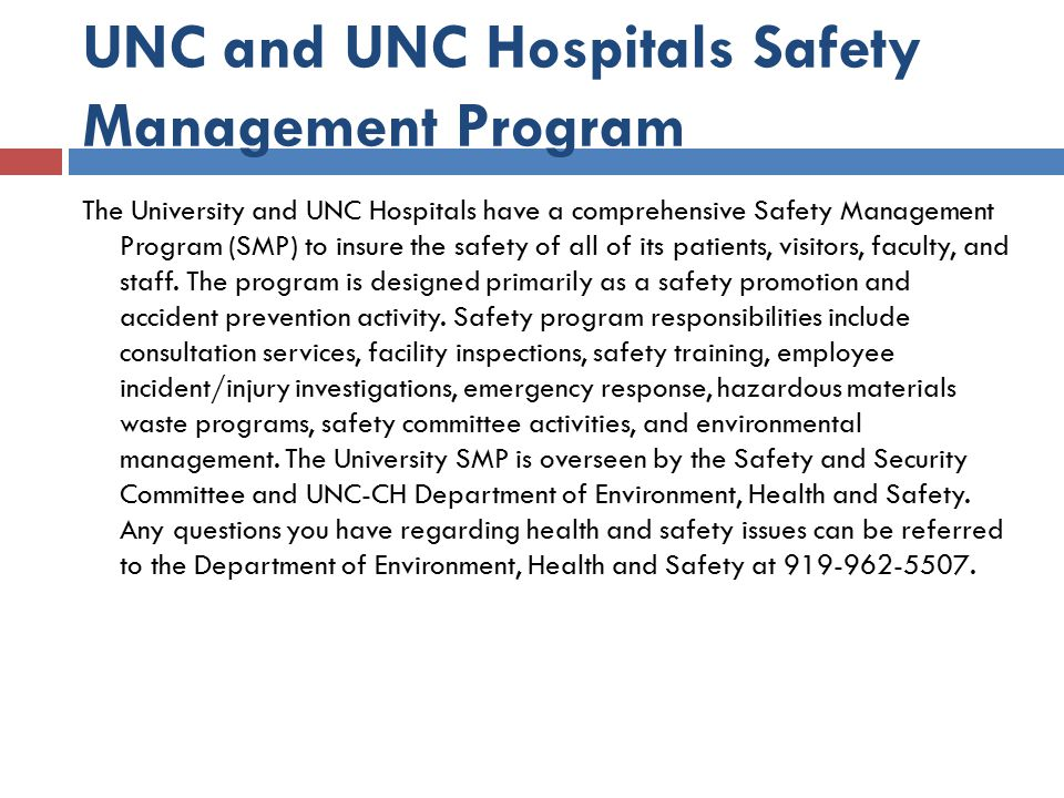 UNC and UNC Hospitals Safety Management Program