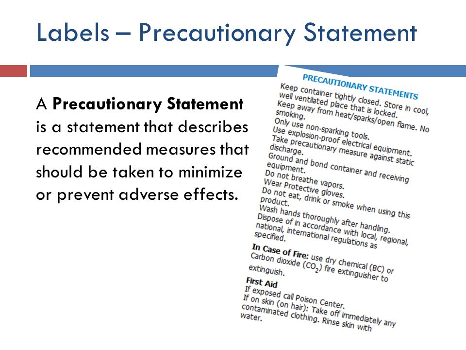 Labels – Precautionary Statement