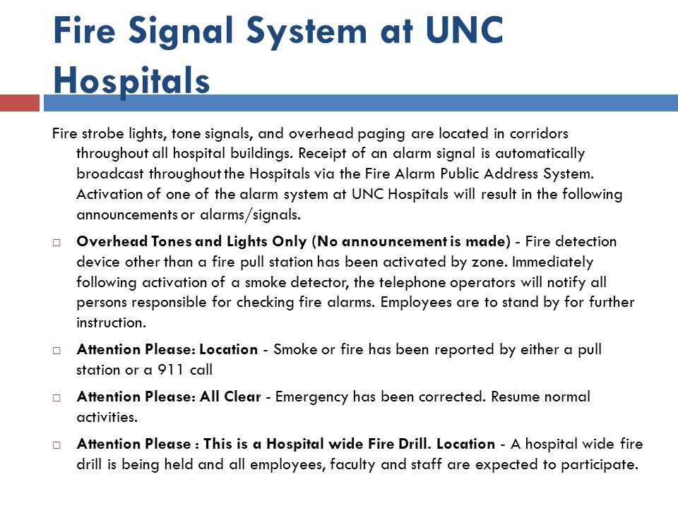 Fire Signal System at UNC Hospitals