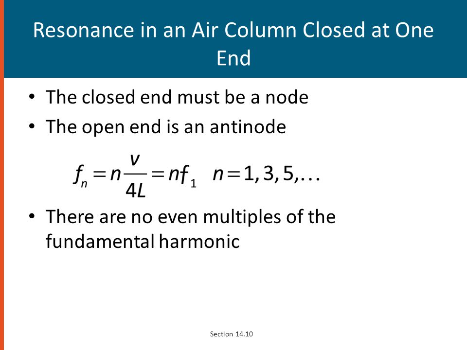 Resonance in an Air Column Closed at One End
