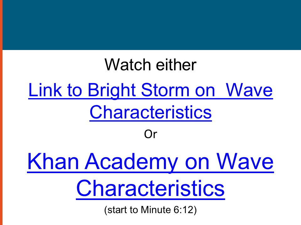 Khan Academy on Wave Characteristics