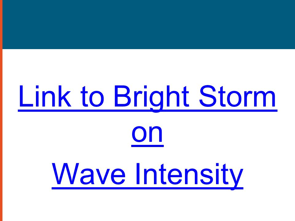 Link to Bright Storm on Wave Intensity