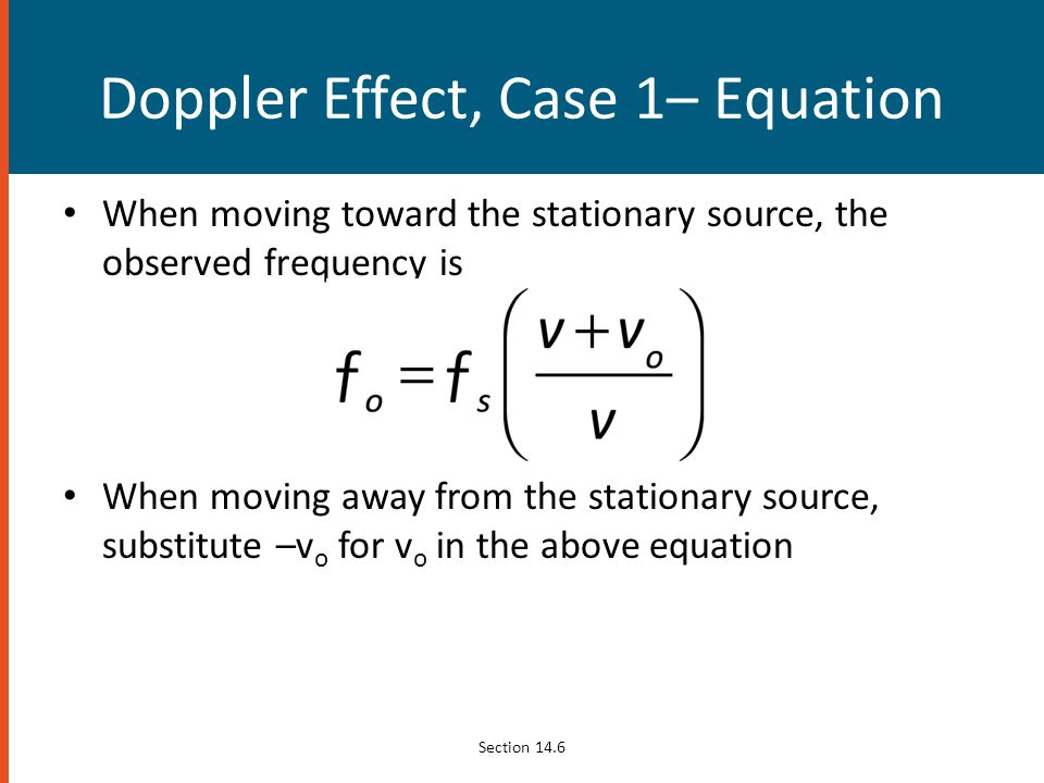Doppler Effect, Case 1– Equation