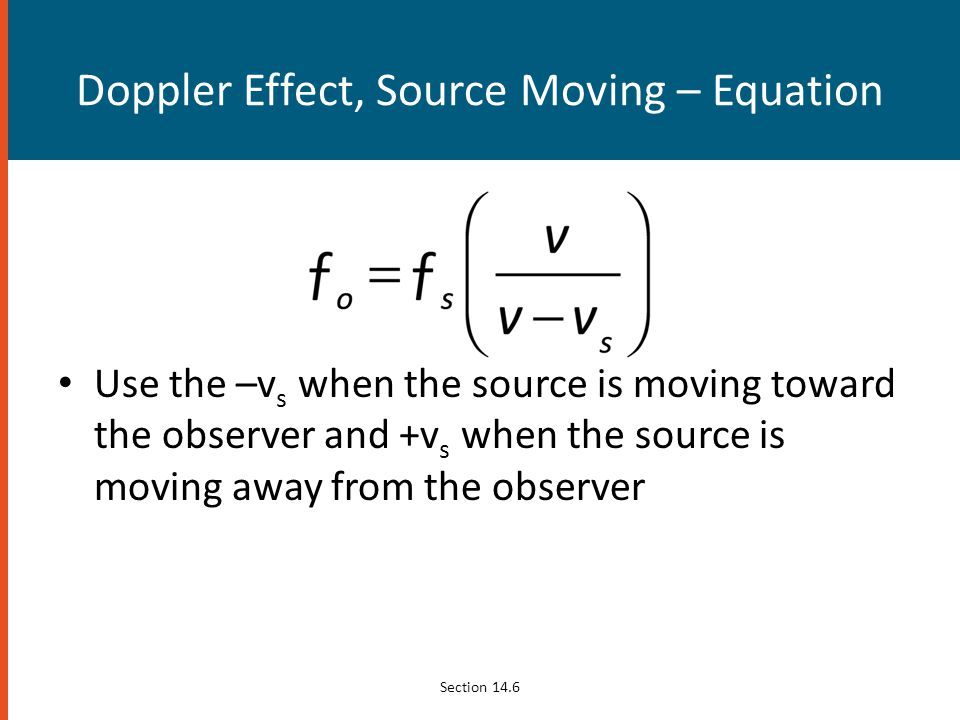 Doppler Effect, Source Moving – Equation