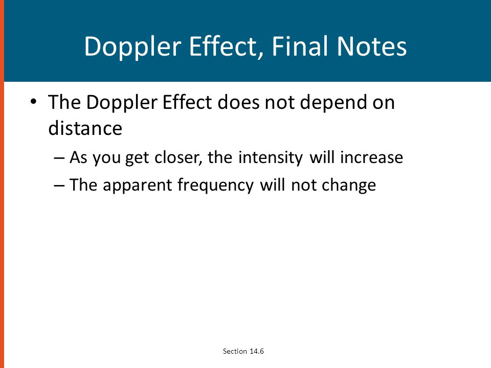 Doppler Effect, Final Notes