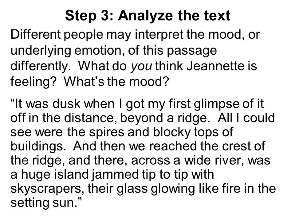 Step 3: Analyze the text