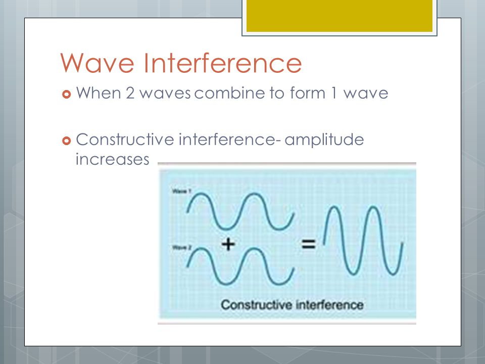 Wave Interference When 2 waves combine to form 1 wave