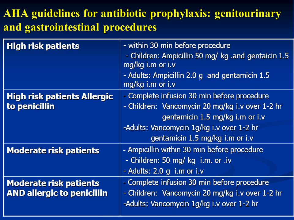AHA guidelines for antibiotic prophylaxis: genitourinary and gastrointestinal procedures