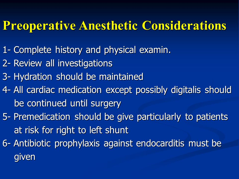 Preoperative Anesthetic Considerations
