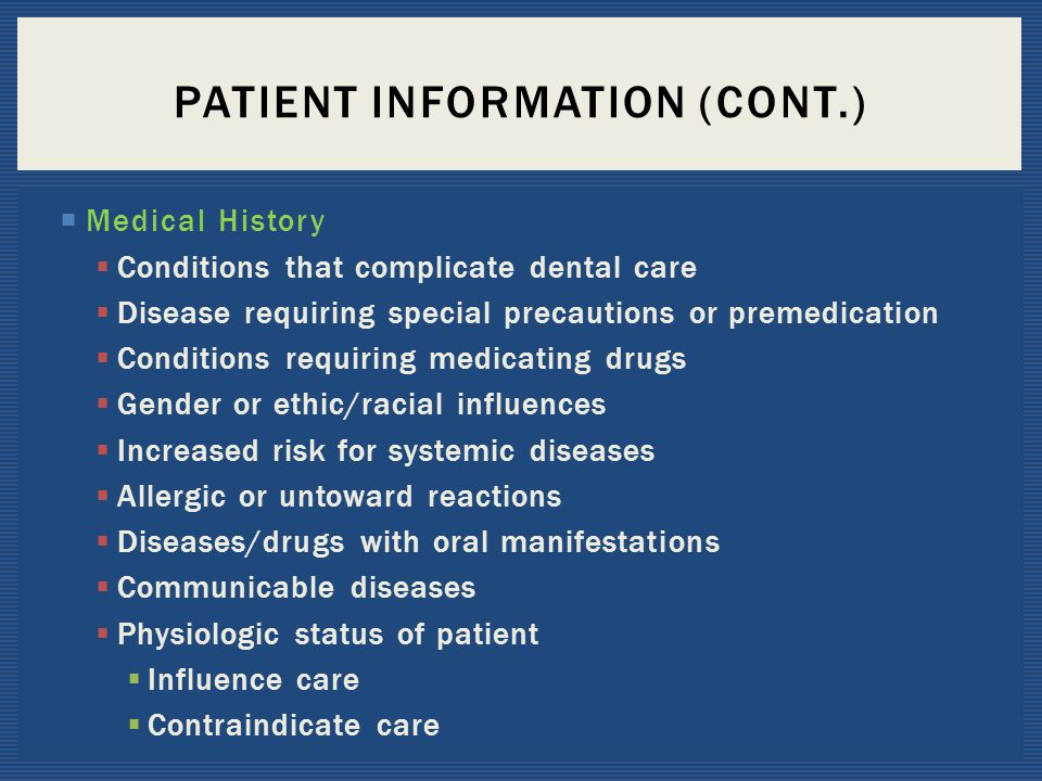 Patient Information (Cont.)