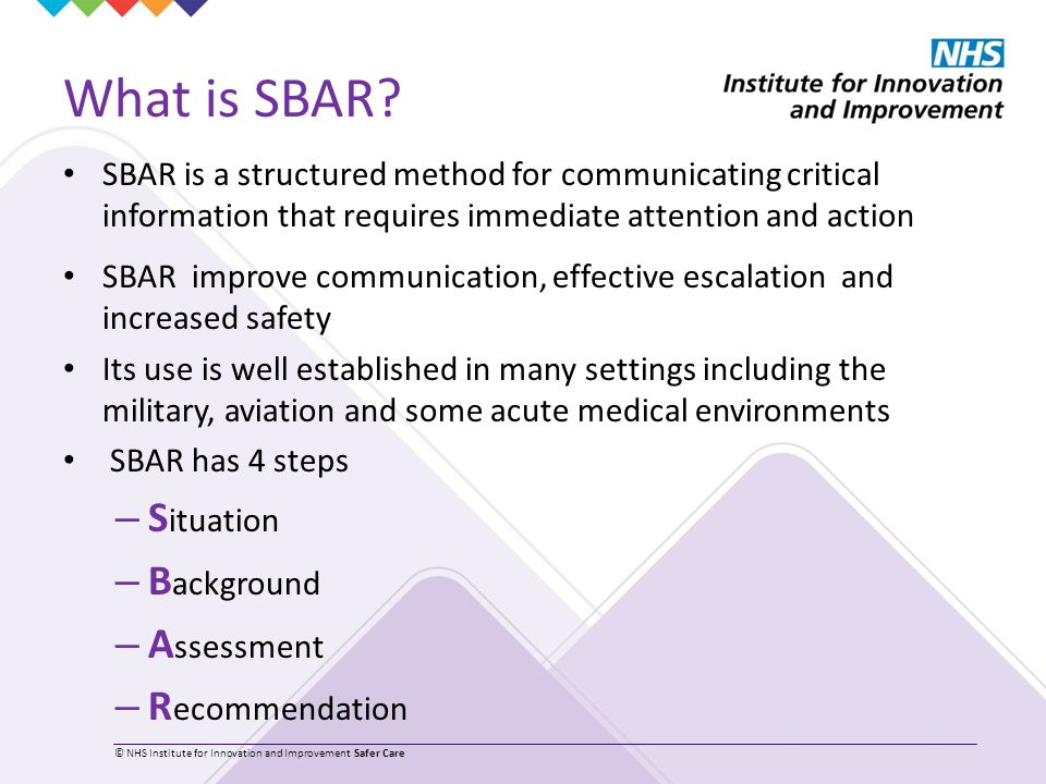 The structured communication tool sbar (situation, background.