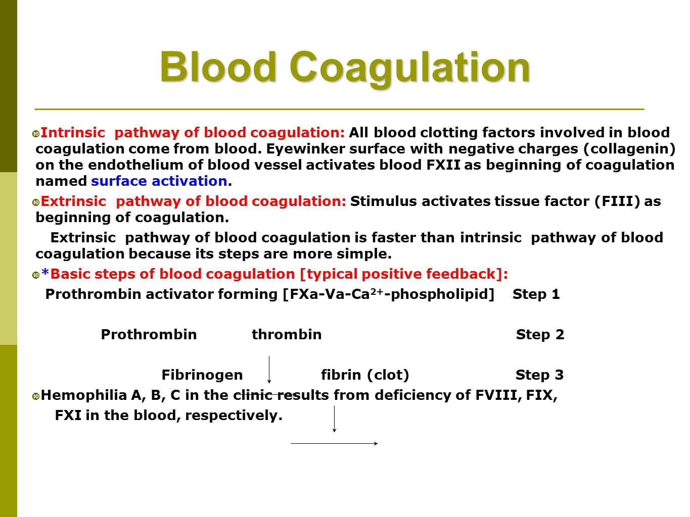 factors involved in blood coagulation