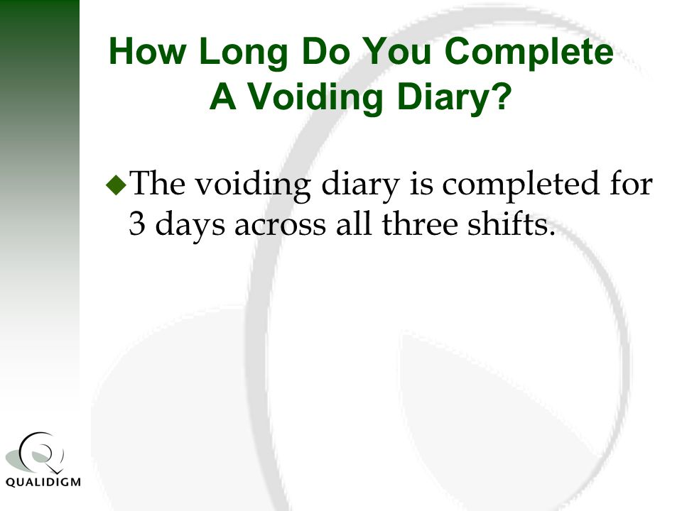 How Long Do You Complete A Voiding Diary