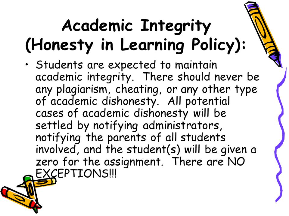 Academic Integrity (Honesty in Learning Policy):