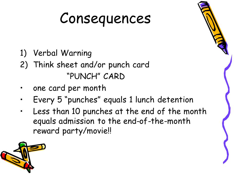 Consequences Verbal Warning Think sheet and/or punch card PUNCH CARD