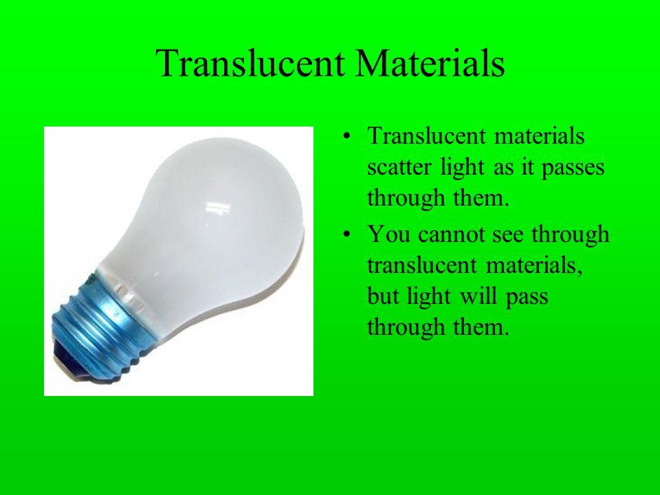 Transparent, translucent and opaque.