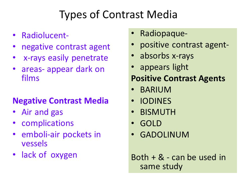 types of contrast media in radiology