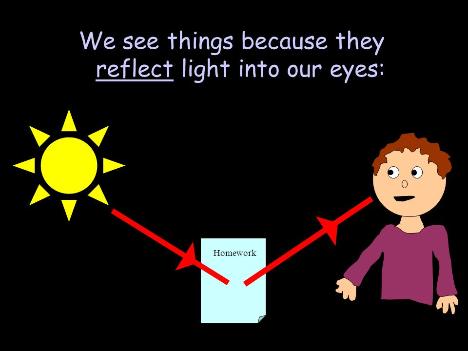 We see things because they reflect light into our eyes: