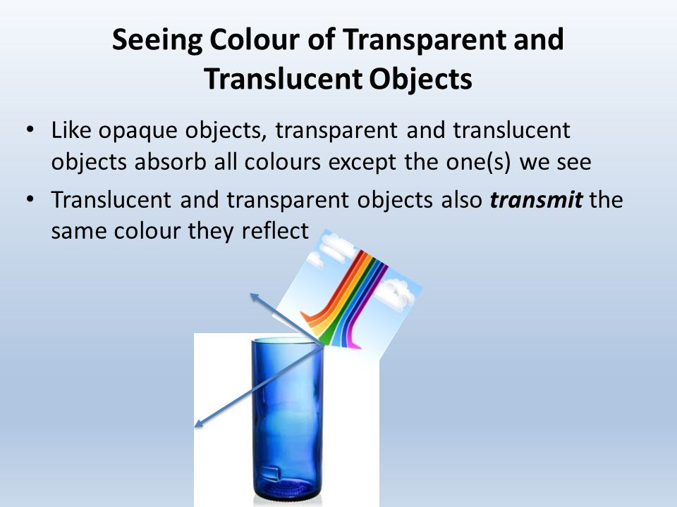 Seeing+Colour+of+Transparent+and+Translucent+Objects warm up use a ray diagram to explain how light behaves differently