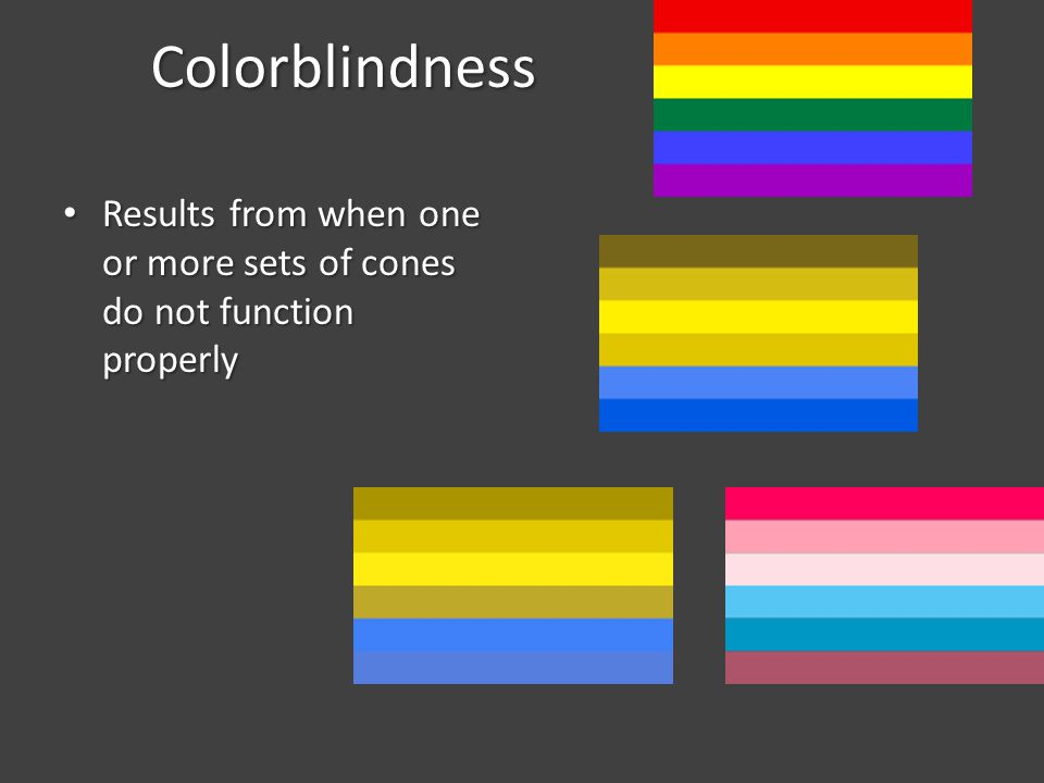 Colorblindness Results from when one or more sets of cones do not function properly
