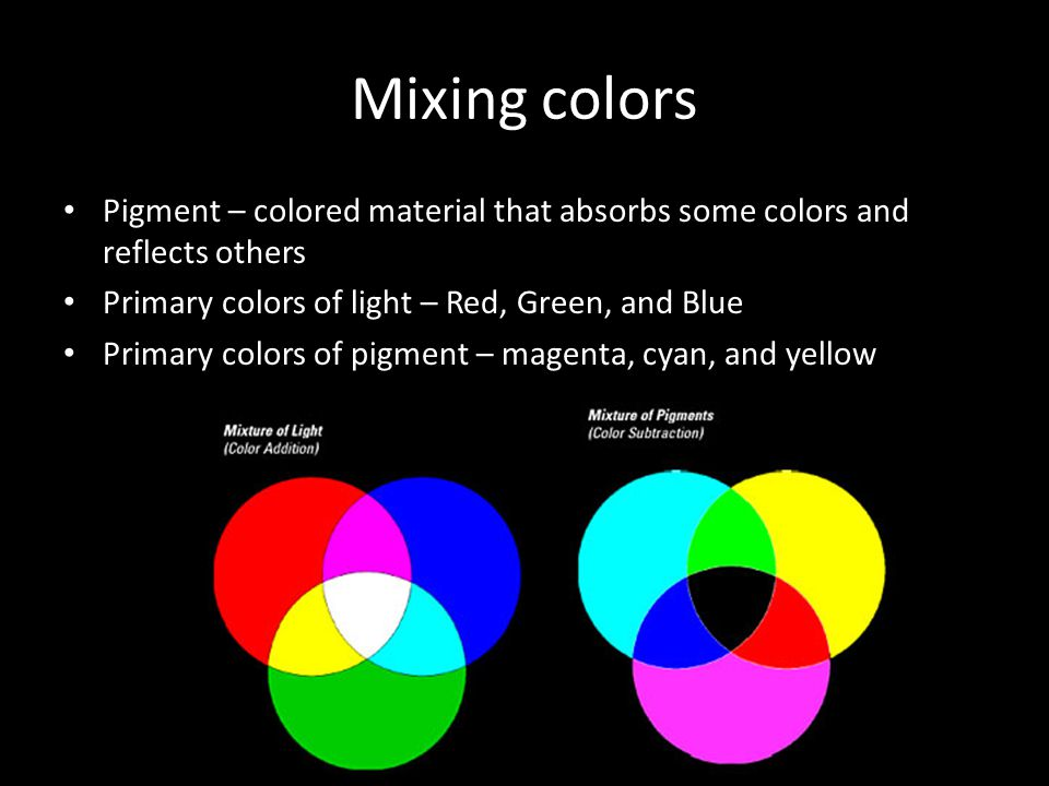 Mixing colors Pigment – colored material that absorbs some colors and reflects others. Primary colors of light – Red, Green, and Blue.