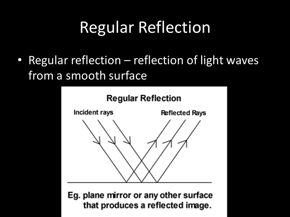 Regular Reflection Regular reflection – reflection of light waves from a smooth surface