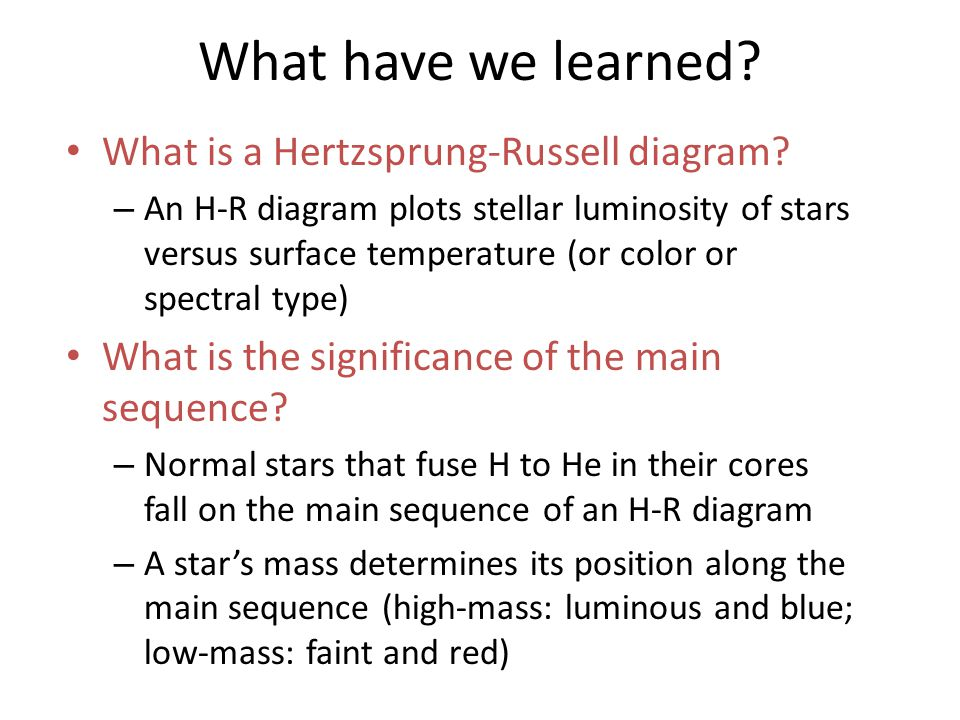 What is a hertzsprung russell diagram ppt video online download what have we learned what is a hertzsprung russell diagram ccuart Gallery