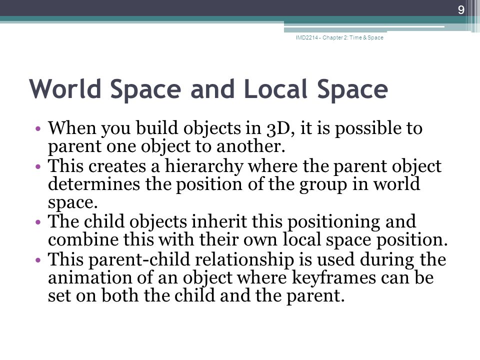 world space vs local space