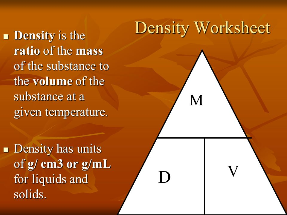 Density calculations worksheet 1 find the unknown quantity