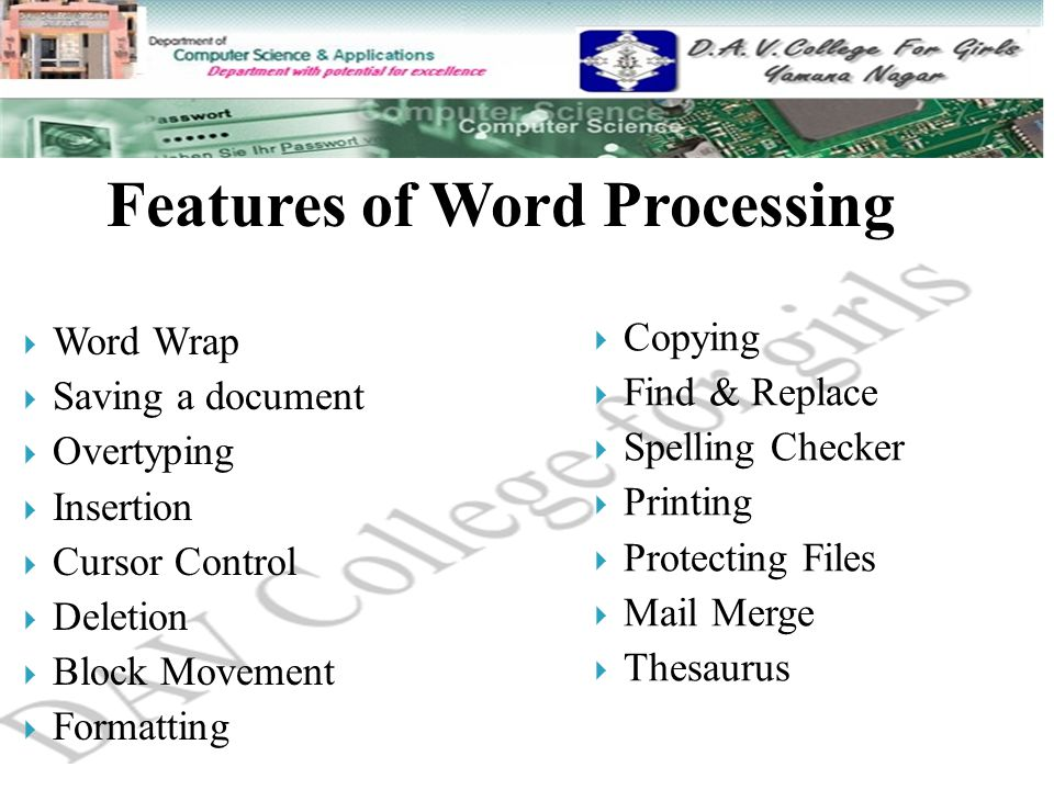 Features Of Word Processing