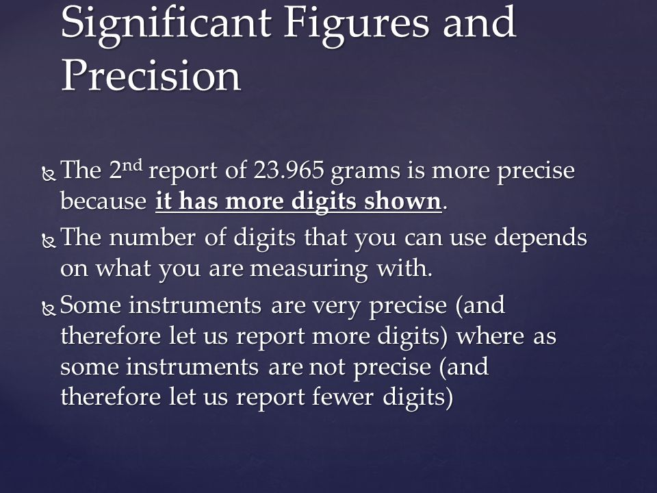 Significant Figures and Precision