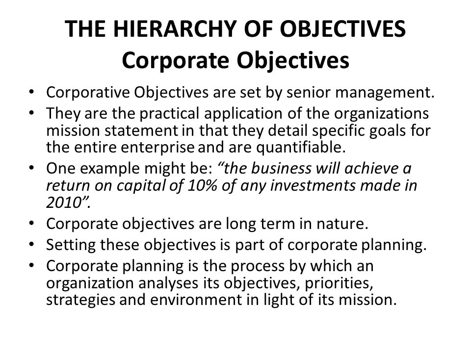 Hierarchy Of Objectives Mission Vision Statements Ppt Video