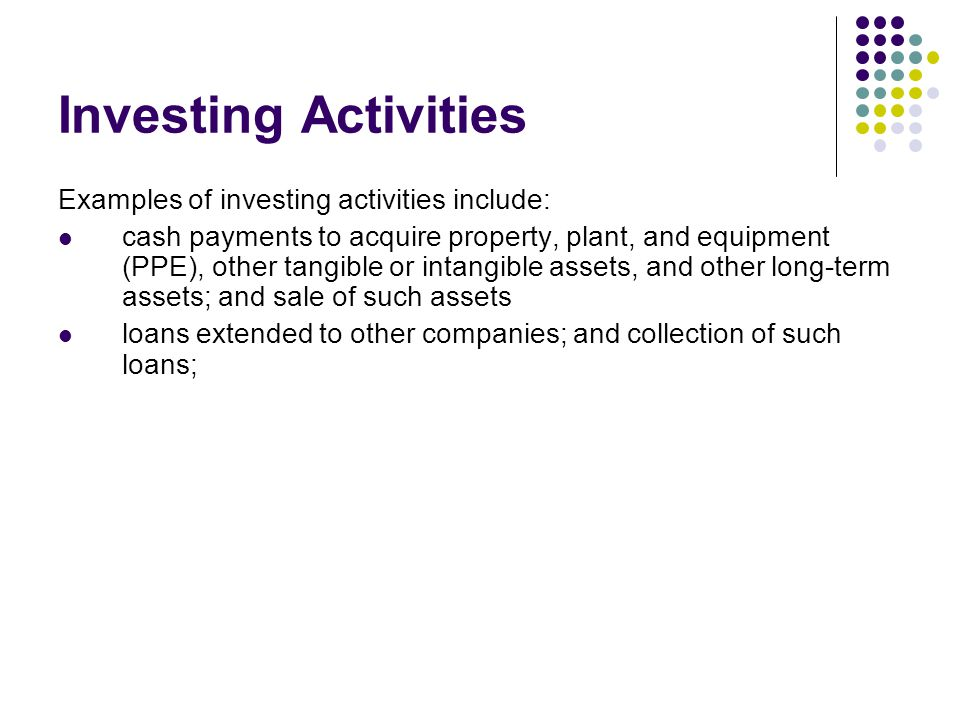 Investing Activities Examples of investing activities include: