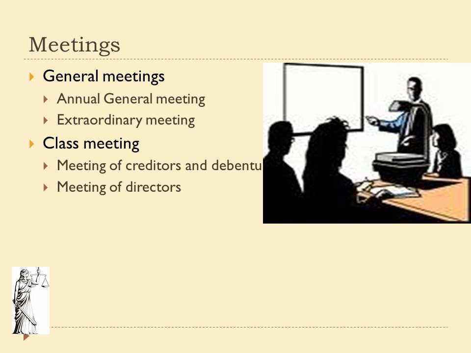 Meetings General meetings Class meeting Annual General meeting
